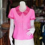 เสื้อผ้าฝ้ายสุโขทัยสีชมพูแต่งผ้ามัดหมี่สุโขทัย ไม่อัดผ้ากาว ไซส์ L