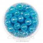 ลูกปัดพลาสติก เคลือบรุ้ง 10มม. สีฟ้า (15 กรัม)