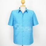 เสื้อสูทไหมผสมฝ้าย สีฟ้า ไซส์ M