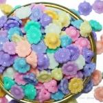 ลูกปัดพาสเทล 10มม. ลายดอกไม้ ร้อยข้าง (225 กรัม)