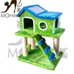 คอนโดแมวรูปทรงบ้านแฝด มีบันได ของเล่นแขวน ที่ลับเล็บแมว สูง 82 cm
