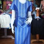 ชุดเสื้อกระโปรงผ้าฝ้ายสุโขทัยแต่งผ้าทอลายมัดหมี่สุโขทัย สีน้ำเงิน ไซส์ L
