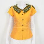 เสื้อผ้าฝ้ายสุโขทัยสีเหลืองแต่งผ้ามุกสายรุ้ง ไม่อัดผ้ากาว ไซส์ 2XL