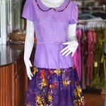 เดรสผ้าฝ้ายสุโขทัยสีม่วงแต่งผ้าฝ้ายบาติก ไซส์ L
