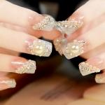 เล็บปลอมเกาหลี ลาย hydrangea lady diamond nail