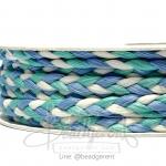 เชือกเปียถัก 3เส้น 6มม. สีน้ำเงิน-เขียวมิ้น-ขาว (18 หลา)