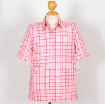 เสื้อสูทผ้าฝ้ายลายสก็อต สีชมพู ไซส์ 2XL