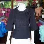 เสื้อผ้าฝ้ายสุโขทัยสีดำ ปกผ้าแก้ว ไซส์ L