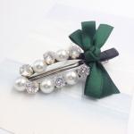 กิ๊ฟติดผม เกาหลี Zircon diamond pearl hairpin [เขียว ]