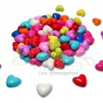 ลูกปัดอคิลิค 11มม. ลายหัวใจ สีสด (100กรัม)