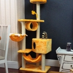 MU0053 คอนโดแมวหกชั้น ต้นไม้แมว มีเปล อุโมงค์ กล่องบ้านไว้สลับกันแต่ละชั้น สูง 160 cm