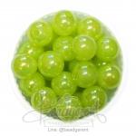 ลูกปัดพลาสติก เคลือบรุ้ง 12มม. สีเขียว (15 กรัม)