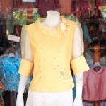 เสื้อผ้าฝ้ายสุโขทัย ปกและแขนผ้าแก้ว ไซส์ XL