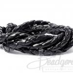 เชือกหนังเทียม แบบถัก 5มม. สีดำ (1 หลา)