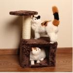 คอนโดแมวสองชั้น ต้นไม้แมว กล่องบ้านอุโมงค์ สีน้ำตาล สูง 52.5 cm