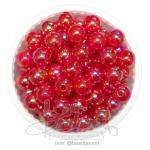 ลูกปัดพลาสติก เคลือบรุ้ง 8มม. สีแดง (15 กรัม)