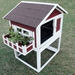 บ้านกระต่ายกระรอก บ้านไม้ 2 ชั้น มีระเบียงปลูกต้นไม้ มีบันได หลังคาเปิดได้ แบรนด์ Petsfit สูง 116.5 cm