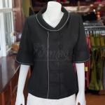 เสื้อผ้าฝ้ายทอลายลูกแก้วสีดำ ไซส์ M