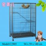 กรงแมว 2 ชั้น มีบันได ประตูทางเข้าใหญ่ มีล้อขนย้ายง่าย สูง 140 cm