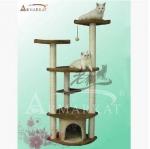 คอนโดแมวสี่ชั้น ที่ลับเล็บแมว ผ้าฝ้ายผ้ากำมะหยี่สีน้ำตาล สูง 163 cm