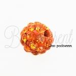 ลูกปัดฝังเพชร 10มิล สีส้ม (1 ชิ้น)
