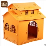 Baby Home บ้านสัตว์เลี้ยงพลาสติก บ้านตุ๊กตาสำหรับฤดูหนาว ทนทาน ทำความสะอาดง่าย ปลอดสารพิษ อากาศถ่ายเท หลังคา 2 ชั้น สูง 53 cm