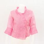 เสื้อผ้าไหมแก้วปักลายดอกไม้ สีชมพูอ่อน ไซส์ L