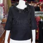 เสื้อผ้าฝ้ายสุโขทัยสีดำ ปกผ้าแก้ว ไซส์ XL