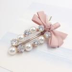กิ๊ฟติดผม เกาหลี Zircon diamond pearl hairpin [ชมพูอ่อน]