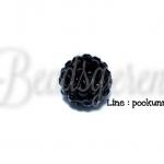 ลูกปัดฝังเพชร 12มิล สีดำ (1 ชิ้น)
