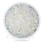 ลูกปัดเม็ดทราย 6/0 โทนรุ้ง สีขาว (100 กรัม)