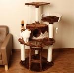 คอนโดแมวสี่ชั้น ต้นไม้แมว มีของเล่นแขวน บันไดปีนป่าย กล่องบ้านอุโมงค์ เฉด 2 สี สูง 120 cm