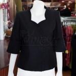เสื้อผ้าฝ้ายสุโขทัยสีดำ ปักมุก ไซส์ XL