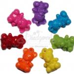 จี้อะคริลิค 29*33มม. ลายหมี คละสีสด (135 กรัม)