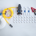ชุดพ่นหมอก ลดกลิ่น ลดฝุ่น 30 หัวพ่น ปั๊มพ่นยา 12VDC 100W 11 บาร์ หัวก้านเสียบ 0.5 mm