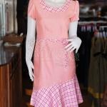 เดรสผ้าฝ้ายสุโขทัยแต่งผ้าทอลายสก็อต ไซส์ XL