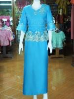 ชุดเสื้อกระโปรงผ้าฝ้ายสุโขทัยแต่งผ้าลูกไม้สีฟ้า ไซส์ 3XL