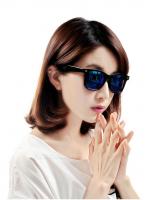 แว่นตากันแดดแฟชั่นเกาหลี กรอบดำสะท้อนแสงน้ำเงิน