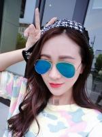 แว่นตากันแดดแฟชั่นเกาหลี กรอบเงินเลนส์ปรอทสีน้ำเงิน