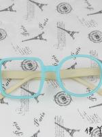 แว่นตาแฟชั่นเกาหลี กรอบสี่เหลี่ยมวงกลมสีฟ้างาช้าง (ไม่มีเลนส์)