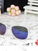 แว่นตากันแดดแฟชั่นเกาหลี กรอบขาวใสเลนส์ปรอทสีฟ้า