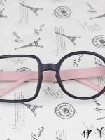 แว่นตาแฟชั่นเกาหลี กรอบสี่เหลี่ยมวงกลมสีดำชมพู (ไม่มีเลนส์)