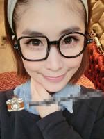แว่นตาแฟชั่นเกาหลี กรอบสี่เหลี่ยมวงกลมสีดำด้าน (ไม่มีเลนส์)