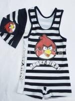 ชุดว่ายหนุ่มน้อย ลาย Angry Birds พร้อมหมวก สำเนา