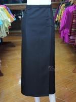 ผ้าถุงป้าย ผ้าทอลายลูกแก้ว สีดำ เอว 36 นิ้ว