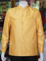เสื้อสูทไหมแพรทองคอพระราชทานแขนยาว สีทอง ไซส์ L