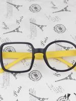 แว่นตาแฟชั่นเกาหลี กรอบสี่เหลี่ยมวงกลมสีดำเหลือง (ไม่มีเลนส์)