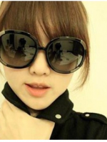 แว่นตากันแดดแฟชั่นเกาหลี มุมโลหะ สีดำ