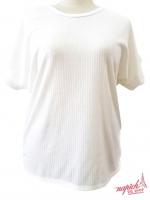 เสื้อคอกลมผ้าร่องไซส์ใหญ่สีขาว