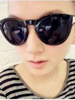 แว่นตากันแดดแฟชั่นเกาหลี กรอบวินเทจสีดำมัน